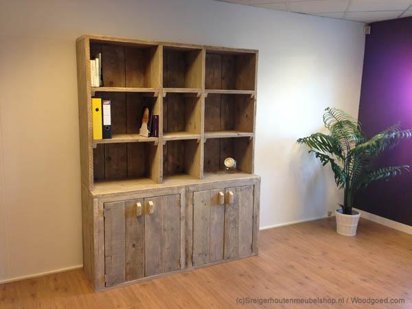 Steigerhout curacao boekenkast jamaica for Boekenkast steigerhout