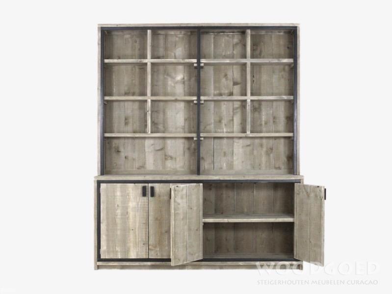 boekenkast-steigerhout-barbuda-woodgoed-curacao - Woodgoed.com