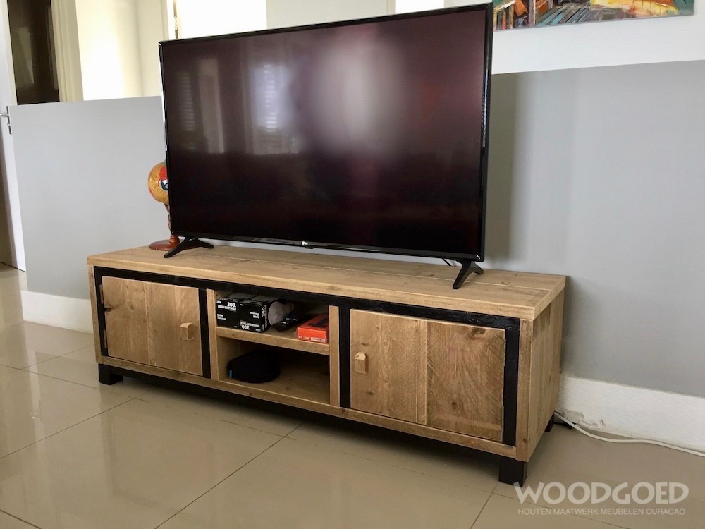 Tv Kast Onbehandeld Hout.Steigerhouten Tv Meubel Portsmouth Woodgoed Com