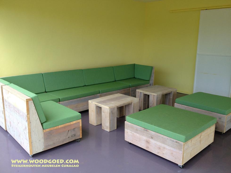 Steigerhouten loungeset op wielen   Woodgoed Steigerhout Curacao