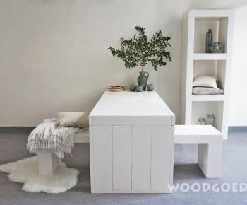 Witte houten eettafel blanku - Kantoor houten school ...